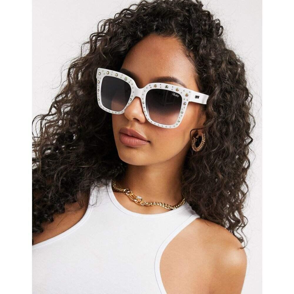 キー オーストラリア Quay Australia レディース メガネ・サングラス スクエアフレーム【Quay x Lizzo Icy oversized square sunglasses in white with diamante embellishment】White