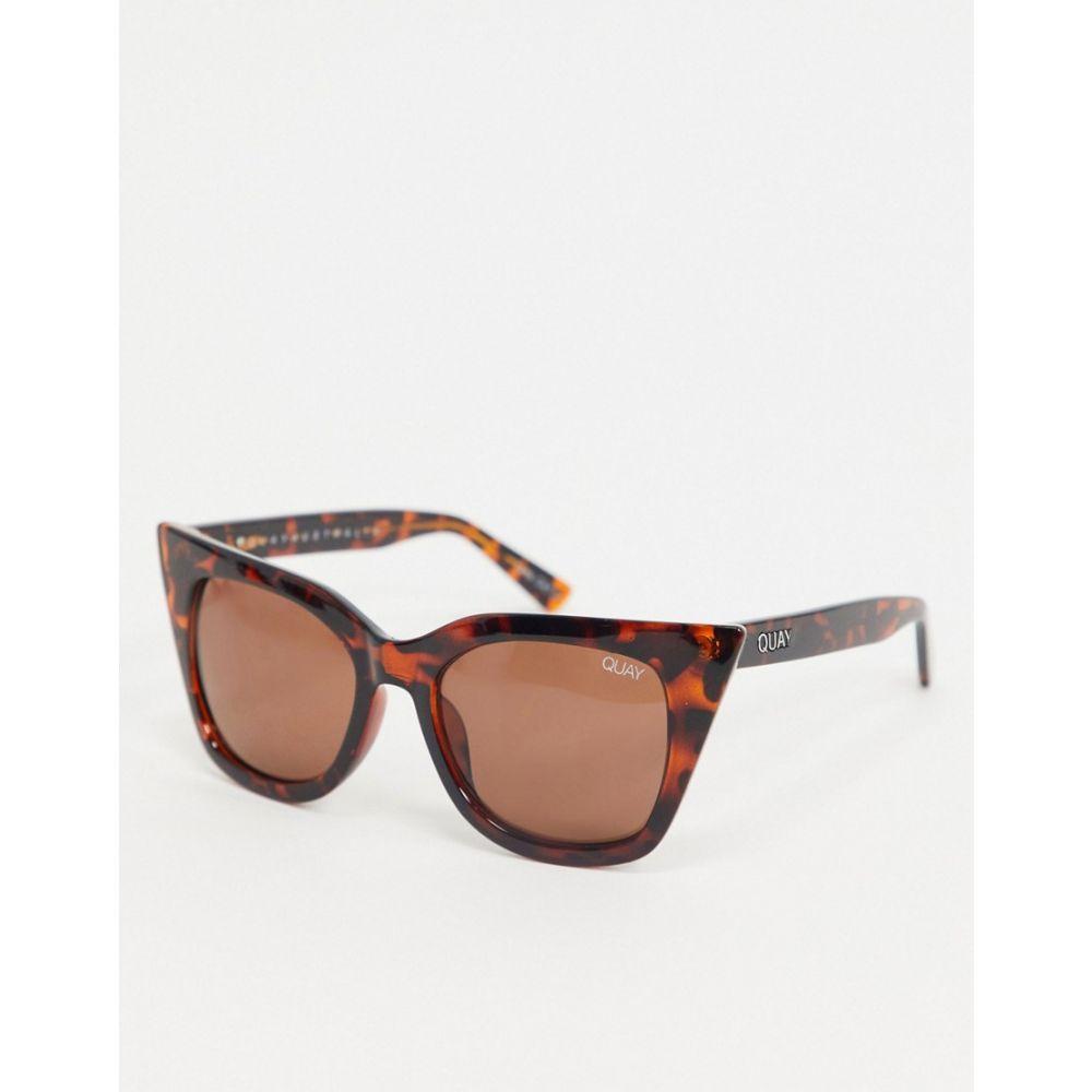 キー オーストラリア Quay Australia レディース メガネ・サングラス 【Harper cat eye sunglasses in tort】Brown