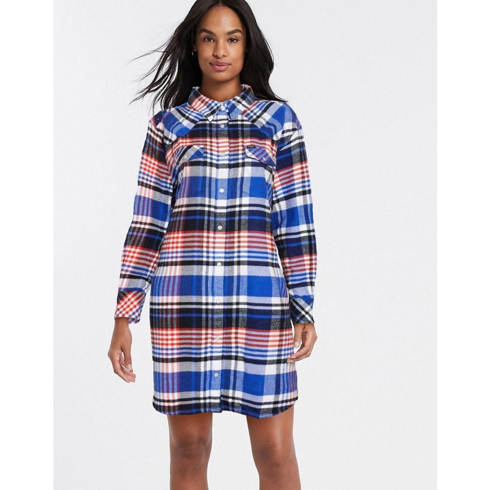 ラングラー Wrangler レディース ワンピース オーバーシャツ ワンピース・ドレス【overshirt dress in check】Cobalt blue