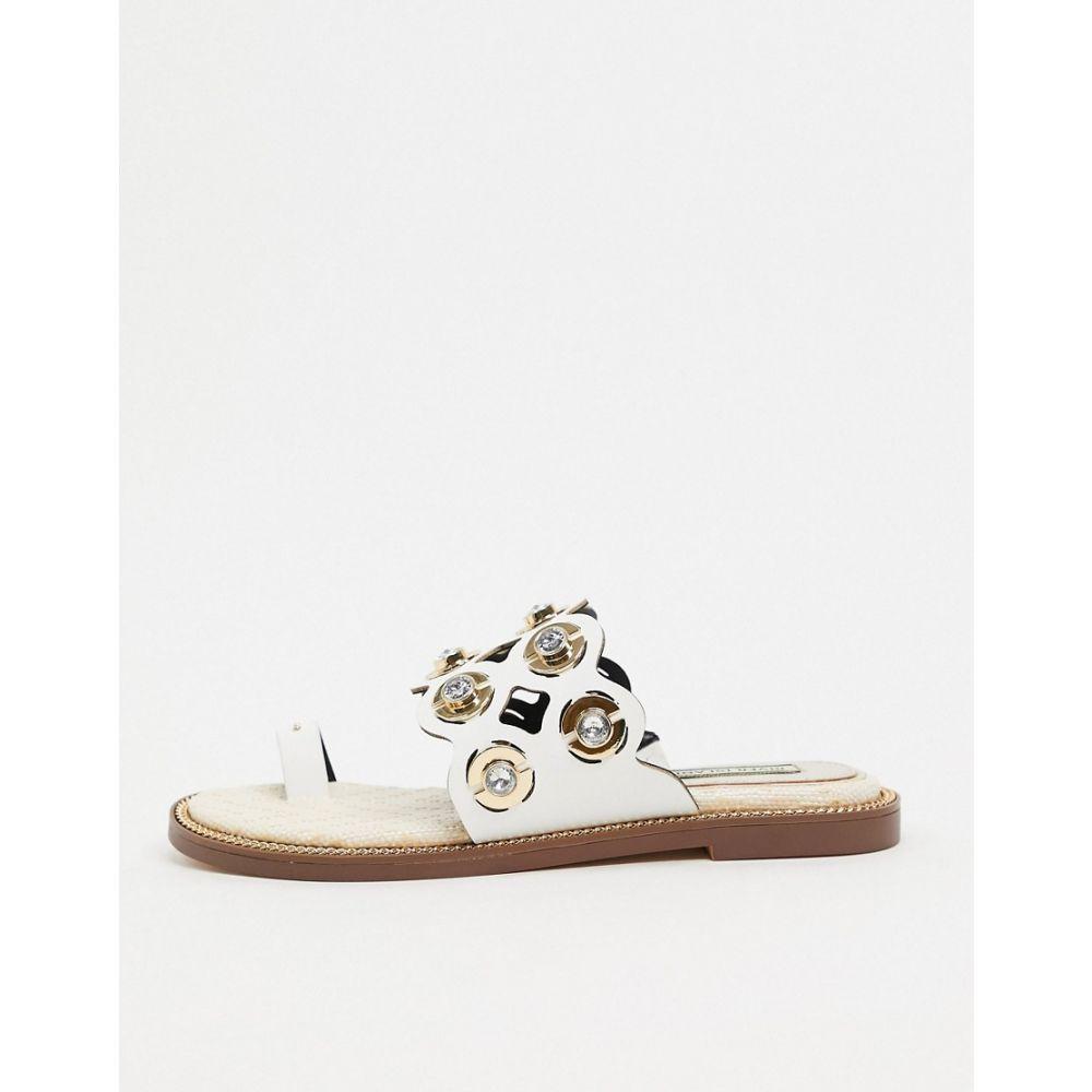 リバーアイランド River Island レディース サンダル・ミュール シューズ・靴【laser cut out sandal in white】White