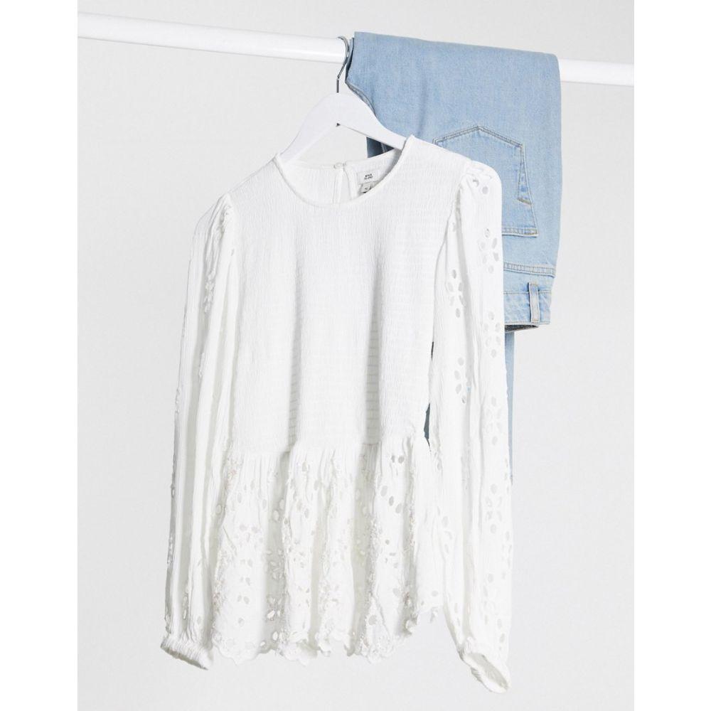 リバーアイランド River Island レディース ブラウス・シャツ トップス【diamante peplum blouse in white】Cream