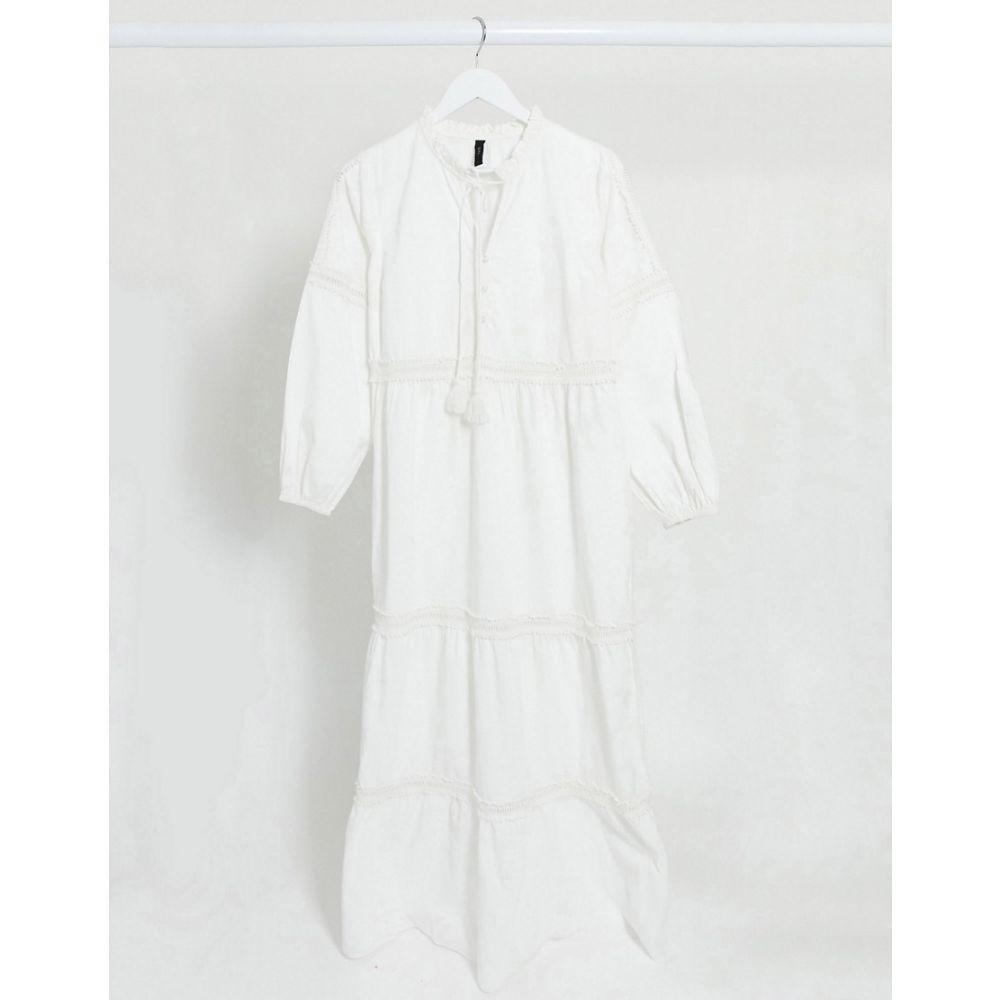 ワイ エー エス Y.A.S レディース ワンピース マキシ丈 ワンピース・ドレス【maxi dress with broderie detail and tie neck in white cotton】White