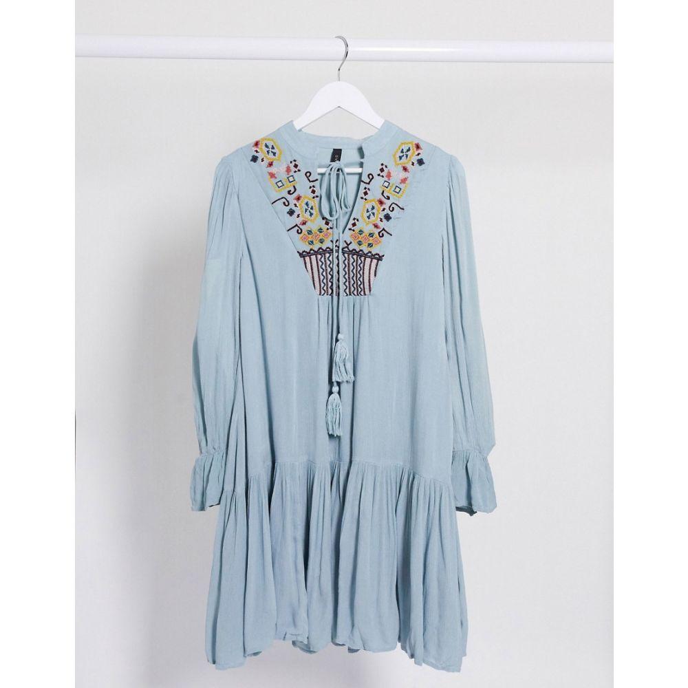 ワイ エー エス Y.A.S レディース ワンピース ワンピース・ドレス【embriodered smock dress in blue】Blue