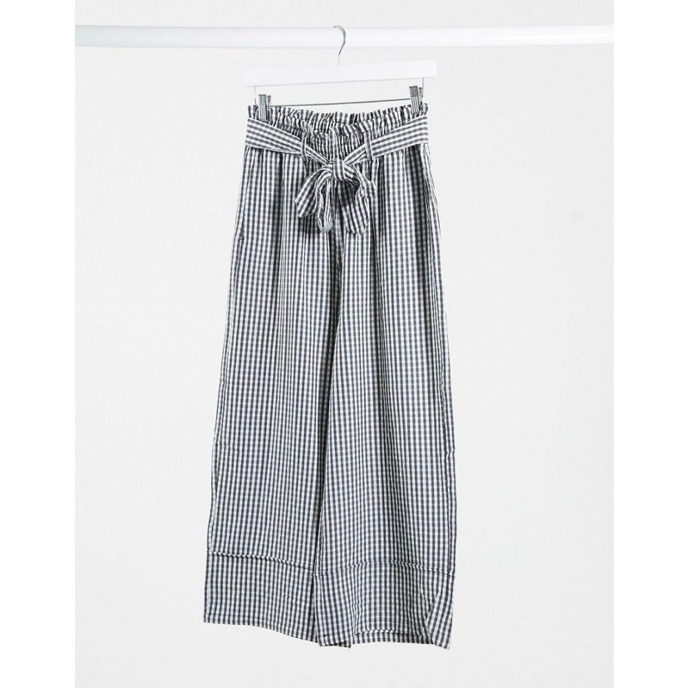 ピンキー Pimkie レディース ボトムス・パンツ ワイドパンツ【wide leg trouser in black gingham】Multi