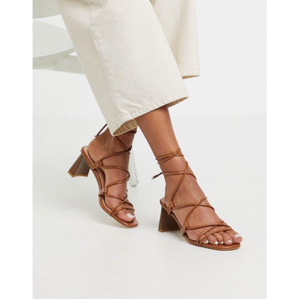 Z_Code_Z レディース サンダル・ミュール シューズ・靴【Orlena vegan stacked heel ankle tie sandals in tan】Tan croc