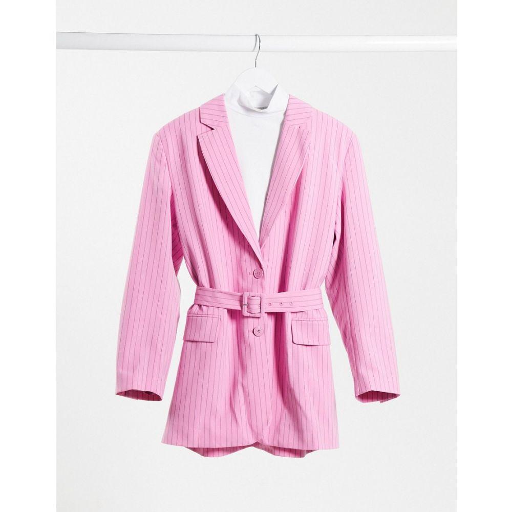 ウィークデイ Weekday レディース スーツ・ジャケット アウター【Jean co-ord recycled pinstripe belted blazer in pink】Pink stripe