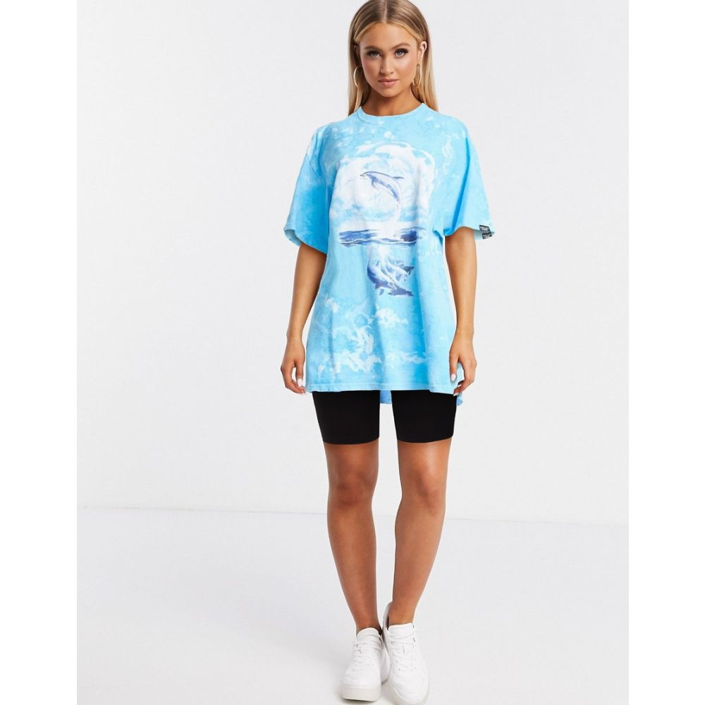 ヴィンテージ サプライ Vintage Supply レディース Tシャツ トップス【oversized t-shirt with 90's dolphin graphic in ombre tie dye】Blue tie dye