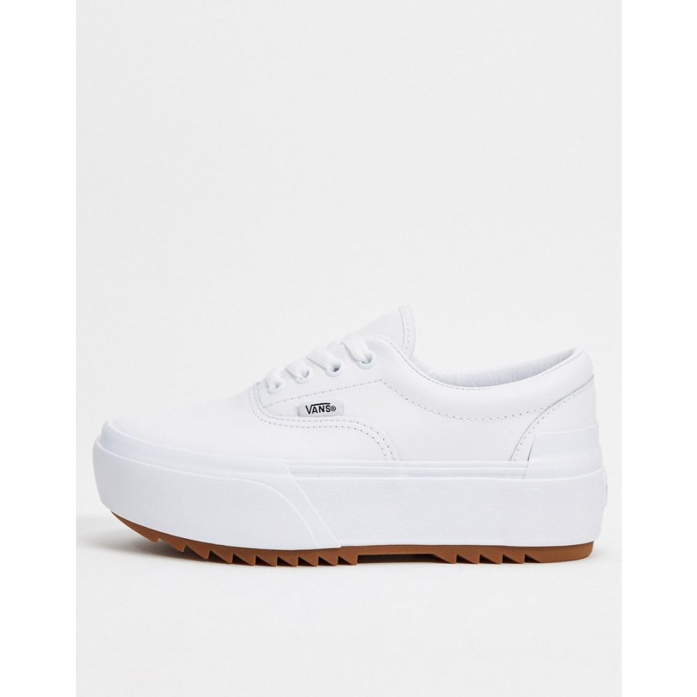 ヴァンズ Vans レディース スニーカー シューズ・靴【Era Stacked leather trainers in white】Leather true white