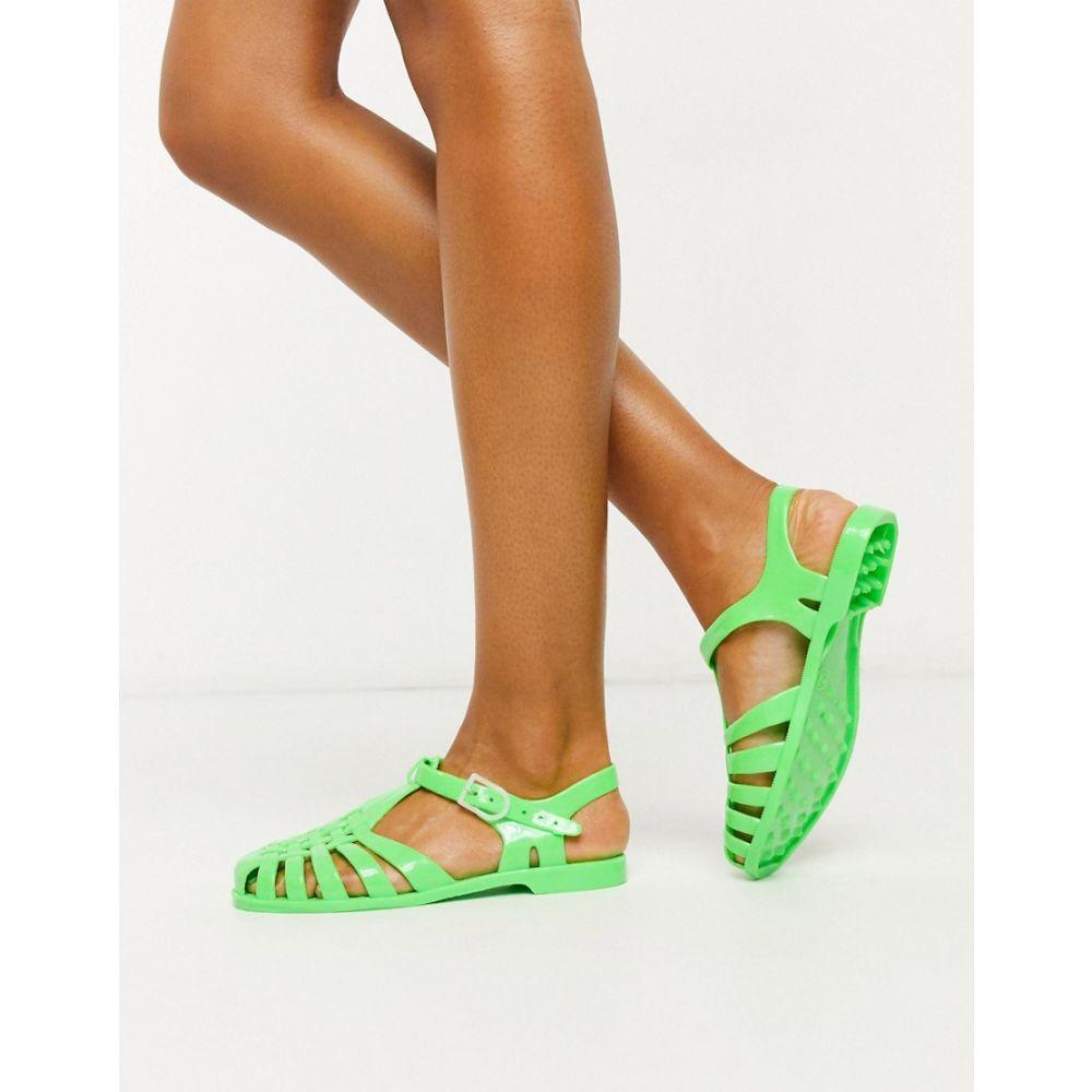 ロンドン レーベル London Rebel レディース スリッポン・フラット シューズ・靴【flat jelly shoes in green】Green