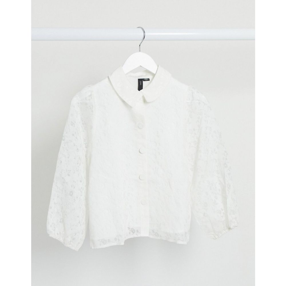 ワイ エー エス Y.A.S レディース ブラウス・シャツ トップス【boxy lace shirt in white】White