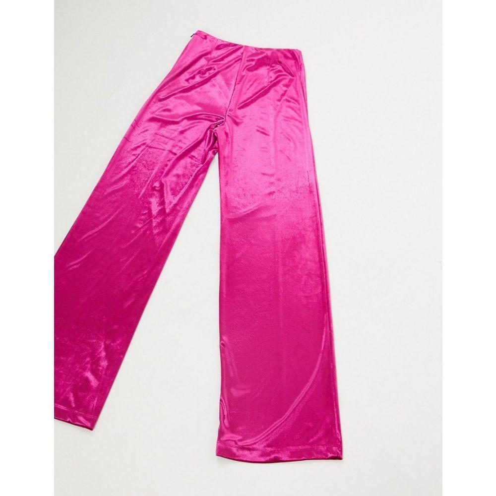 AQAQ レディース ボトムス・パンツ 【high waist velvet trousers in fuschia】Fuschia