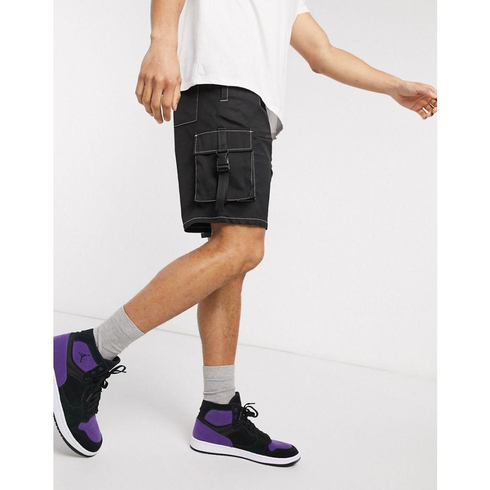 エイソス ASOS DESIGN メンズ ショートパンツ カーゴ ボトムス・パンツ【cargo shorts in black with contrast stitch】Black