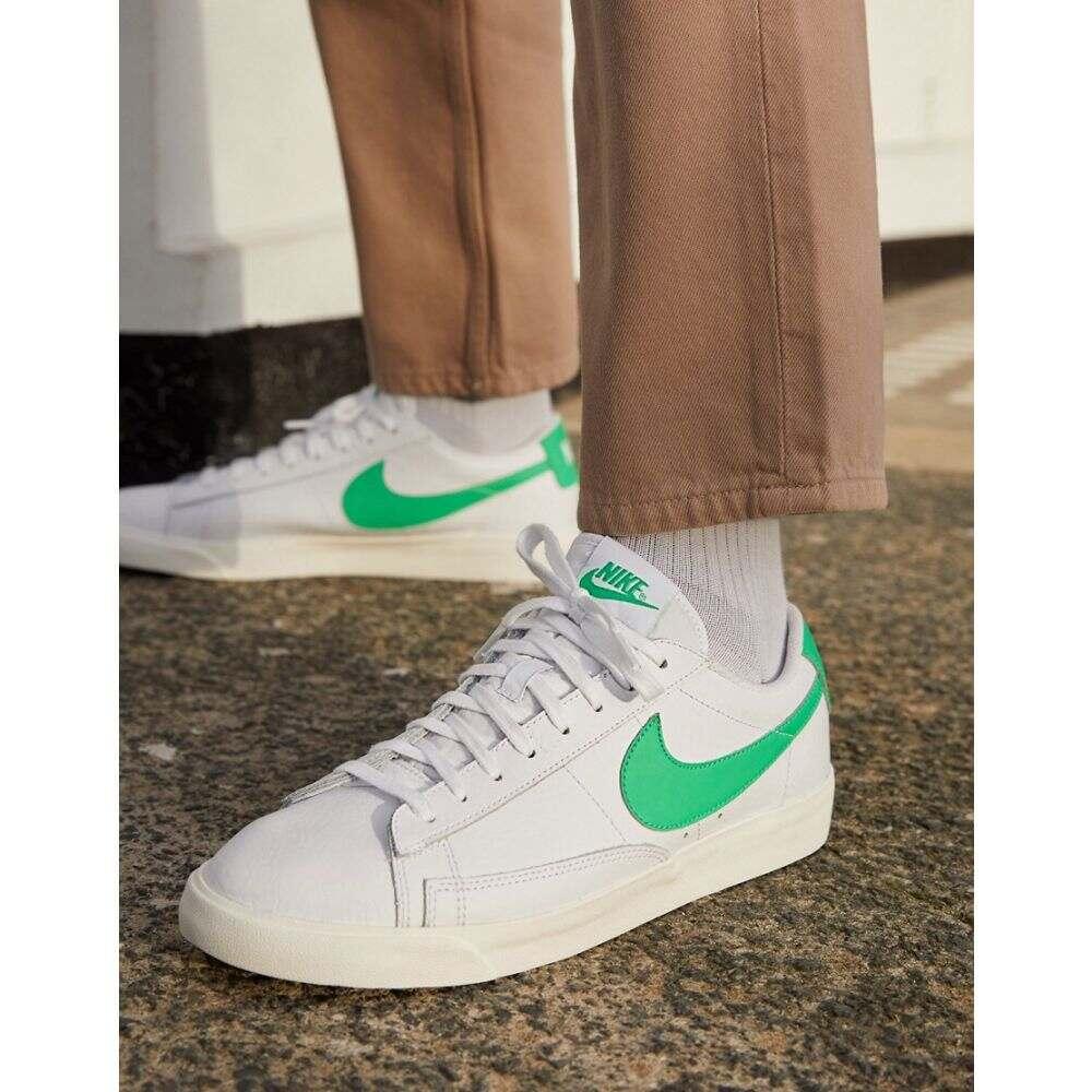 ナイキ Nike メンズ スニーカー シューズ・靴【Blazer Low Leather trainers in white/green】White/green