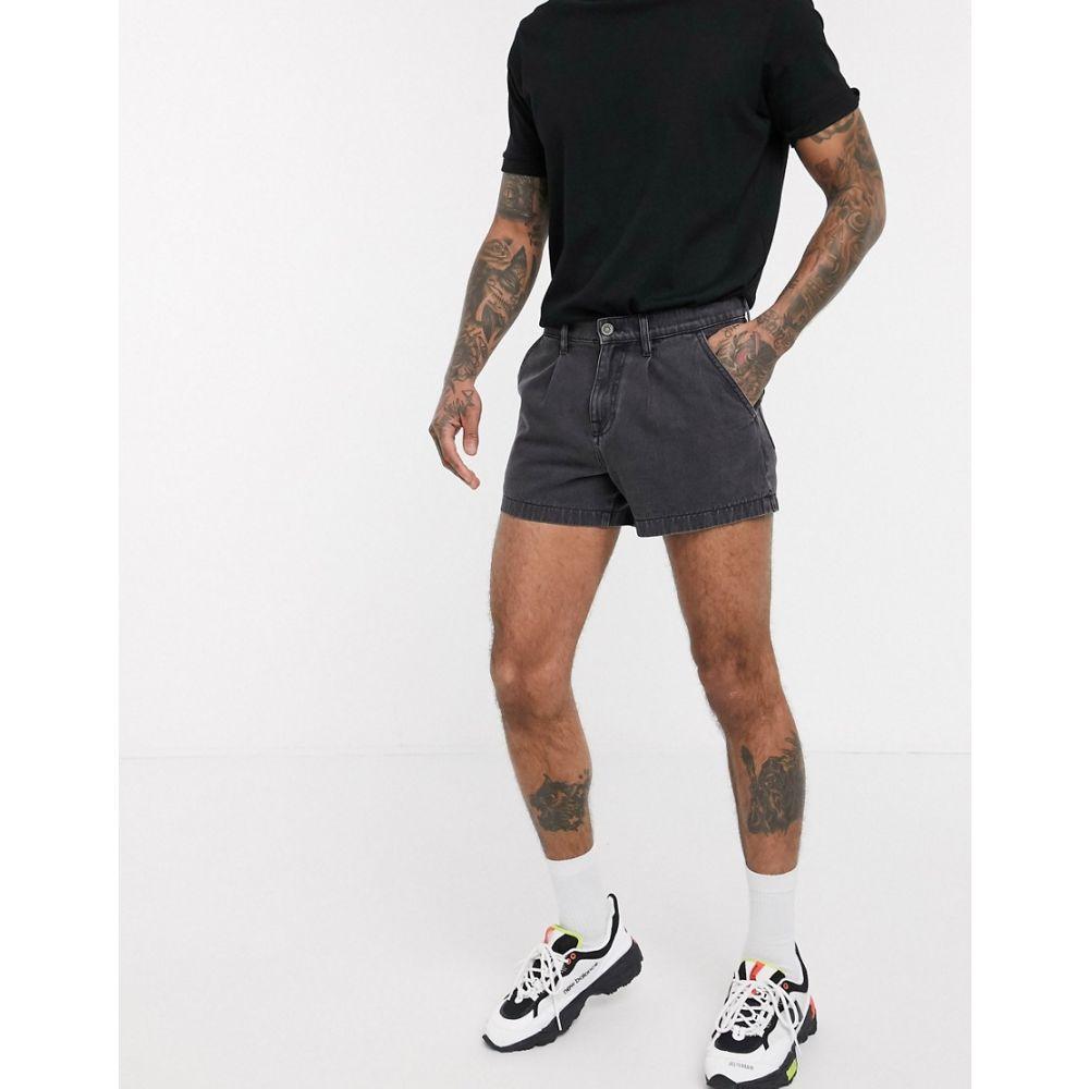 エイソス ASOS DESIGN メンズ ショートパンツ デニム ウォッシュ加工 ボトムス・パンツ【denim shorts with pleat in washed black in shorter length】Washed black