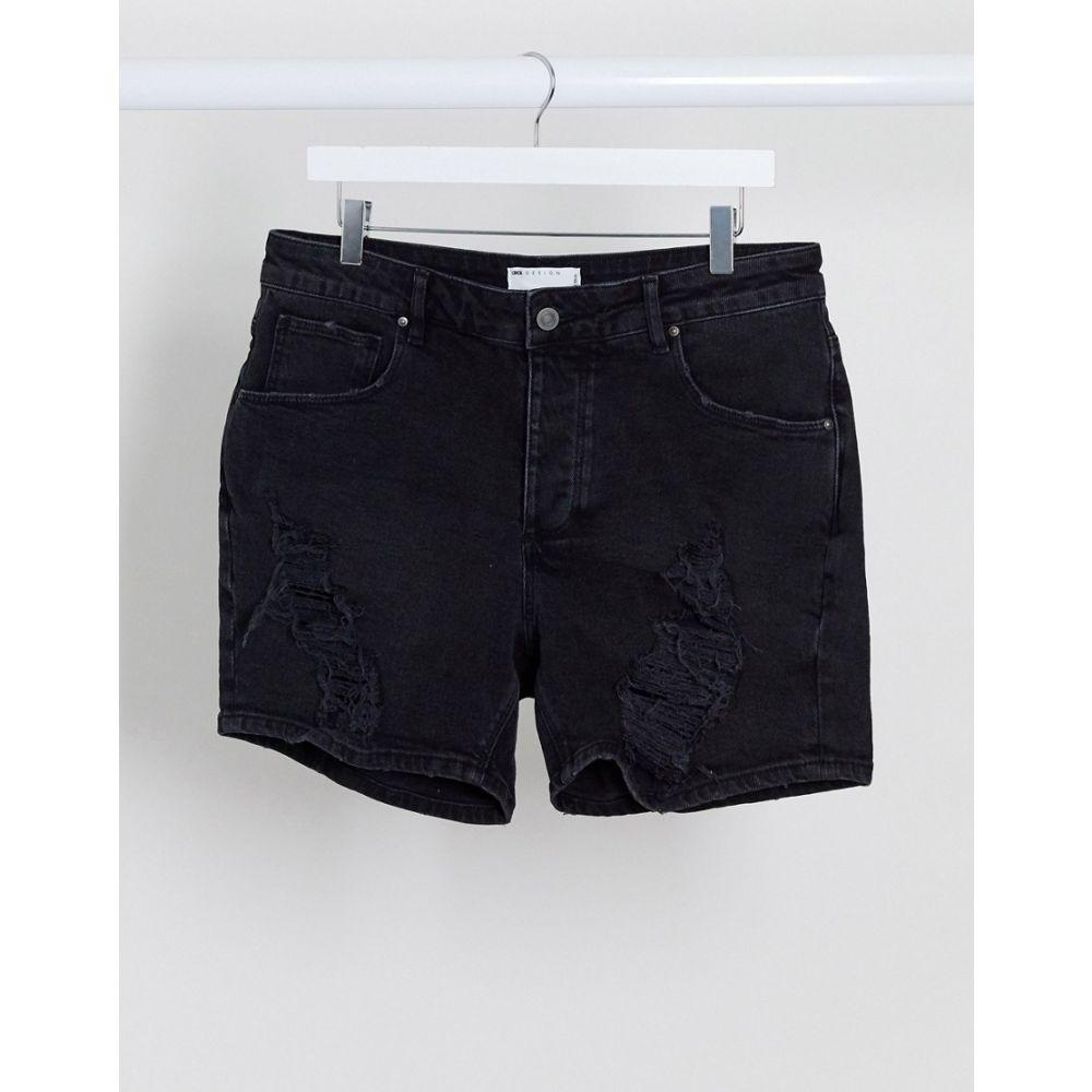 エイソス ASOS DESIGN メンズ ショートパンツ デニム ウォッシュ加工 ボトムス・パンツ【denim short shorts in washed black with rips】Washed black