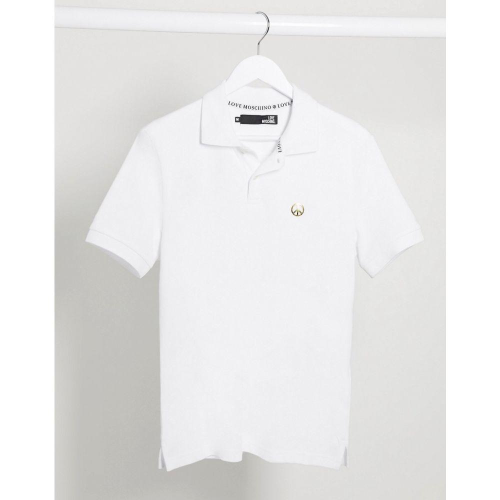 モスキーノ Love Moschino メンズ ポロシャツ トップス【plaque polo shirt】White