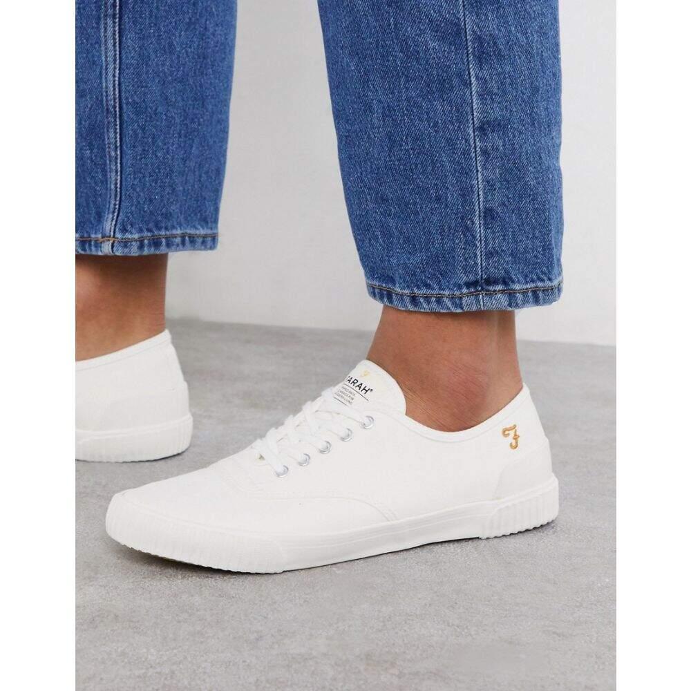 ファーラー Farah メンズ スニーカー レースアップ シューズ・靴【lace up plimsoll trainers in white】White