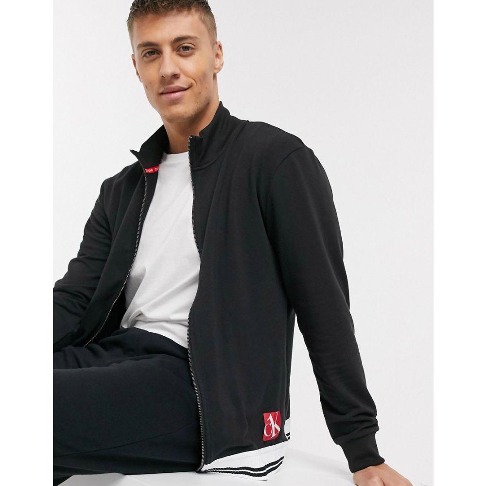 カルバンクライン Calvin Klein メンズ ジャージ アウター【CK One Sock zip thru lounge track jacket CO-ORD in black】Black