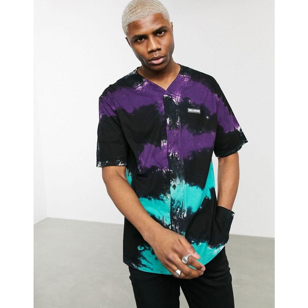 レリジョン Religion メンズ シャツ トップス【tie dye stripe baseball shirt in black/purple】Black purple