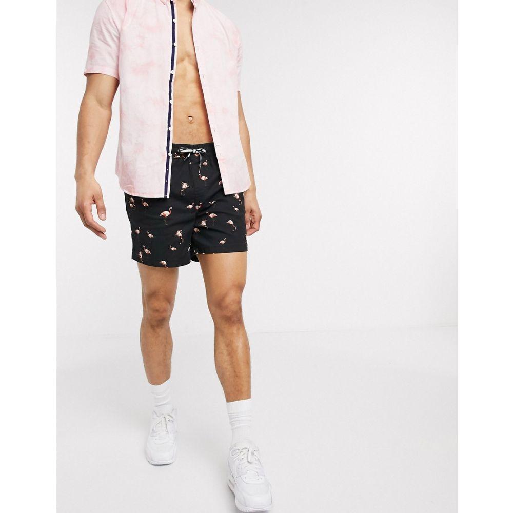 ジャック アンド ジョーンズ Jack & Jones メンズ ショートパンツ ボトムス・パンツ【Intelligence flamingo print shorts in black】Black