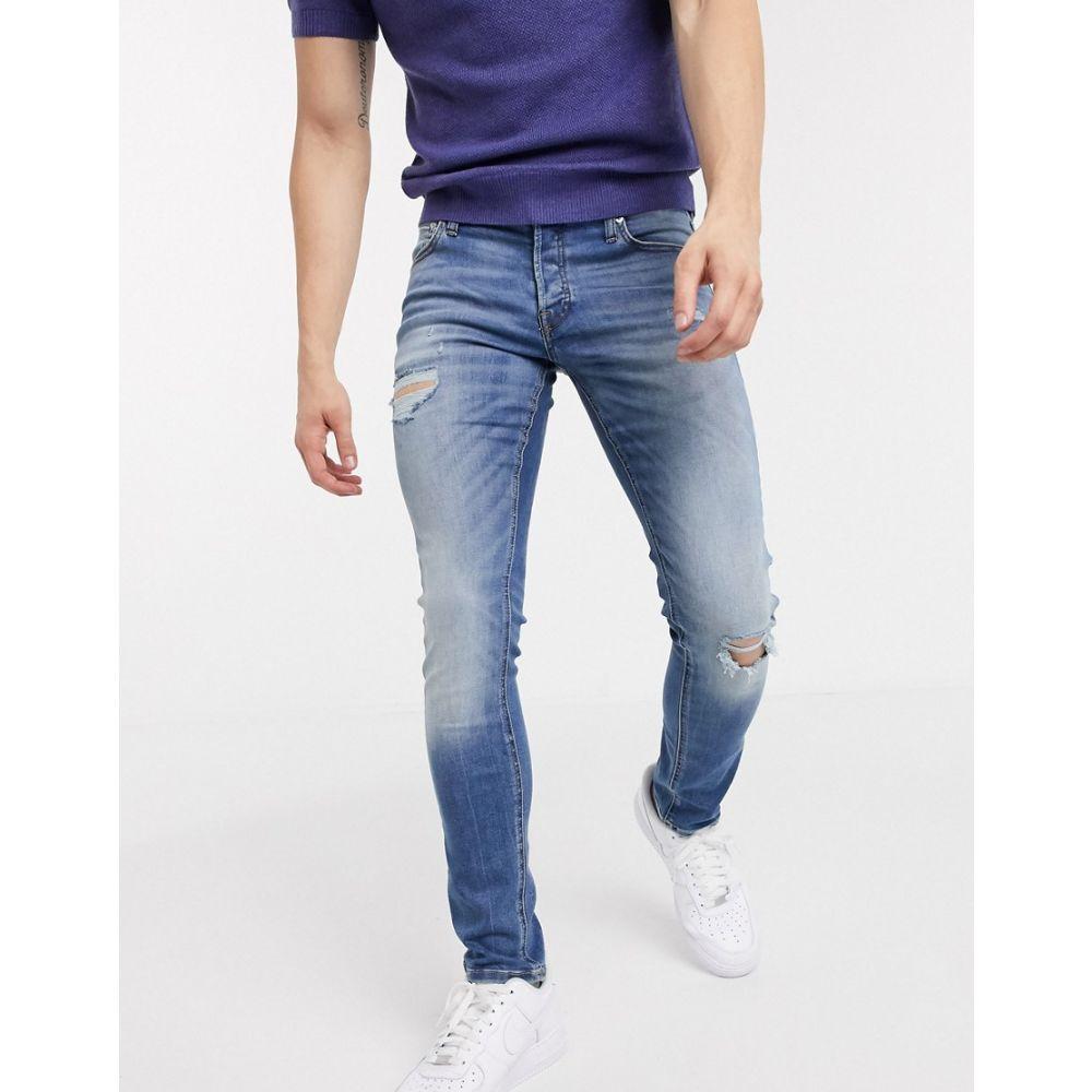 ジャック アンド ジョーンズ Jack & Jones メンズ ジーンズ・デニム ボトムス・パンツ【Intelligence slim fit stretch jeans with abrasions in washed blue】Blue denim
