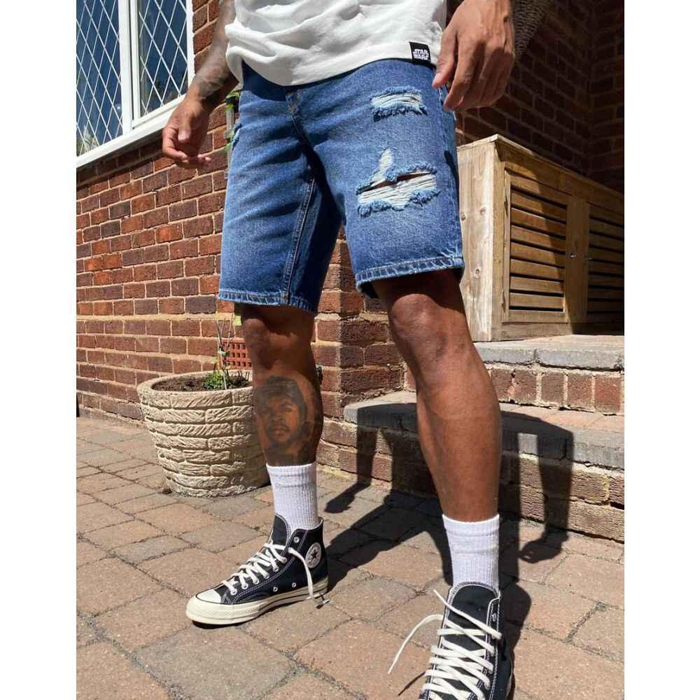 エイソス ASOS DESIGN メンズ ショートパンツ デニム ボトムス・パンツ【slim denim shorts in mid wash blue with rips】Mid wash blue