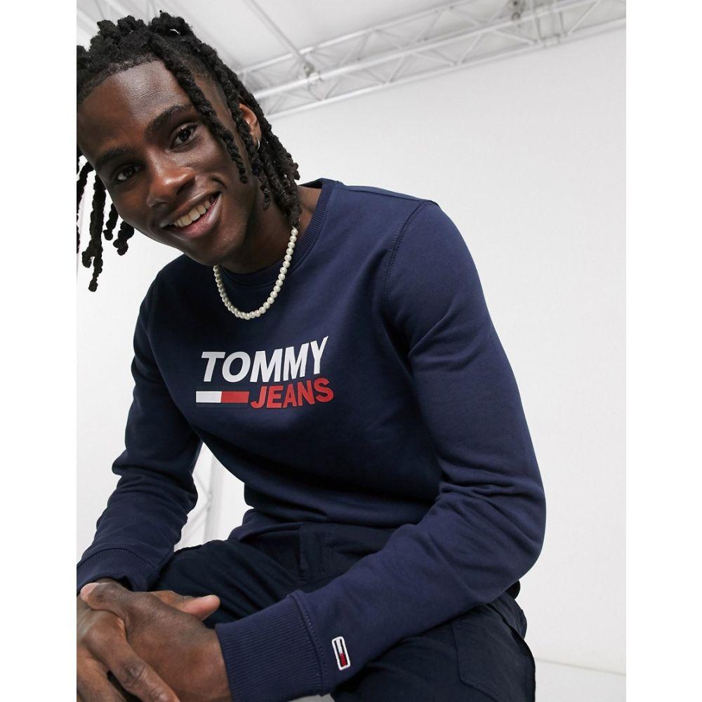トミー ジーンズ Tommy Jeans メンズ スウェット・トレーナー トップス【corp chest logo crew neck sweatshirt slim fit in navy】Twilight navy