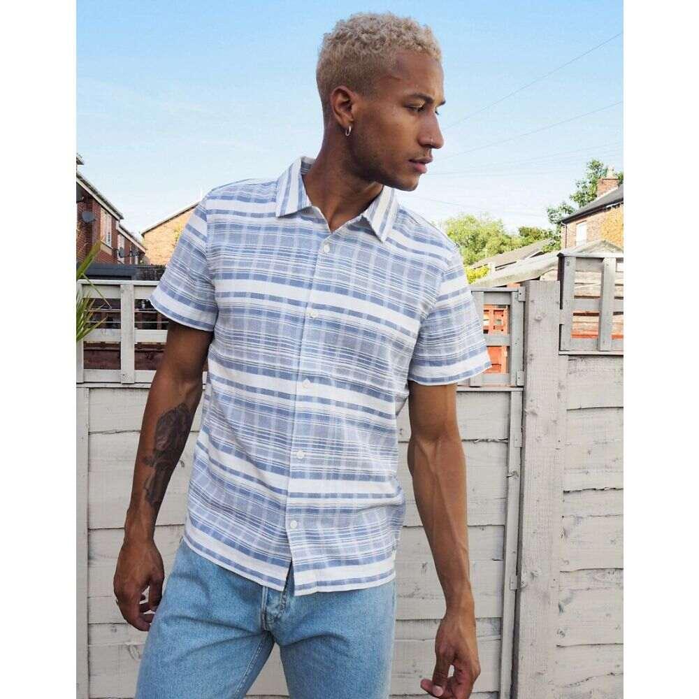 ウィークデイ Weekday メンズ シャツ トップス【Coffee striped shirt in light blue】Blue