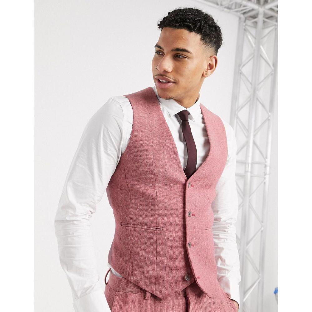 エイソス ASOS DESIGN メンズ ベスト・ジレ トップス【wedding super skinny suit waistcoat in rose pink wool blend herringbone】Pink