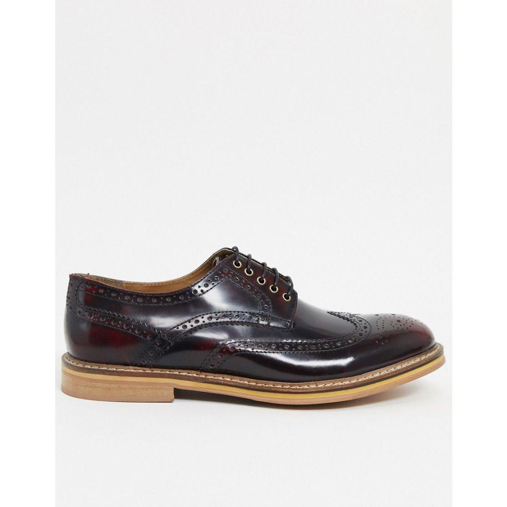 トップマン Topman メンズ 革靴・ビジネスシューズ メダリオン シューズ・靴【leather brogues in red】Red