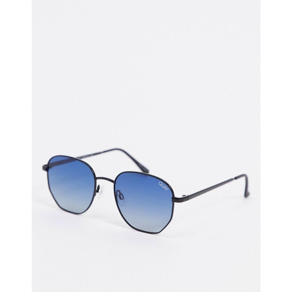キー オーストラリア Quay Australia ユニセックス メガネ・サングラス 【Big Time hexagonal sunglasses in black with blue lens】Matte black navy