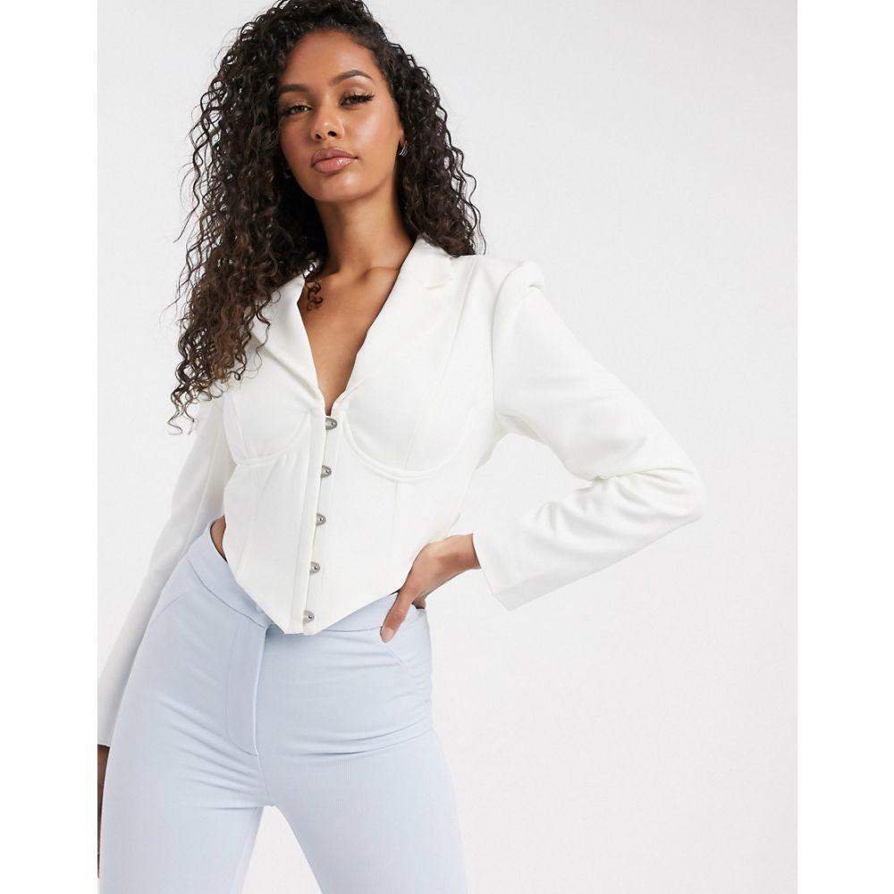 ラヴィッシュアリス Lavish Alice レディース スーツ・ジャケット アウター【tie back corset blazer top in white】White