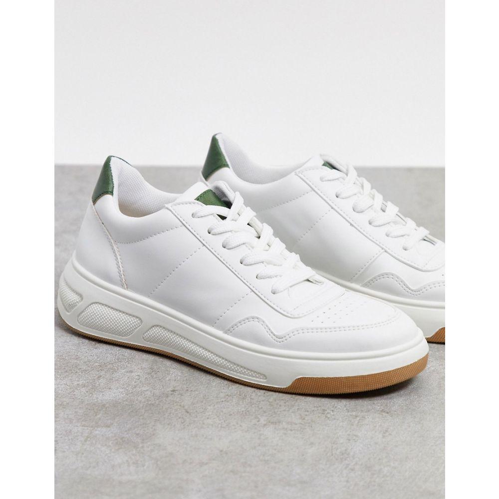 エイソス ASOS DESIGN レディース スニーカー レースアップ シューズ・靴【Damon skater lace up trainers in white】White/green