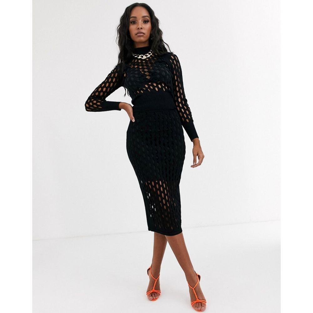 リバーアイランド River Island レディース スカート 【knitted mesh skirt in black】Black