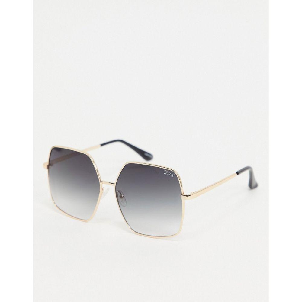 キー オーストラリア Quay Australia レディース メガネ・サングラス スクエアフレーム【Backstage oversized square sunglasses in gold】Gold