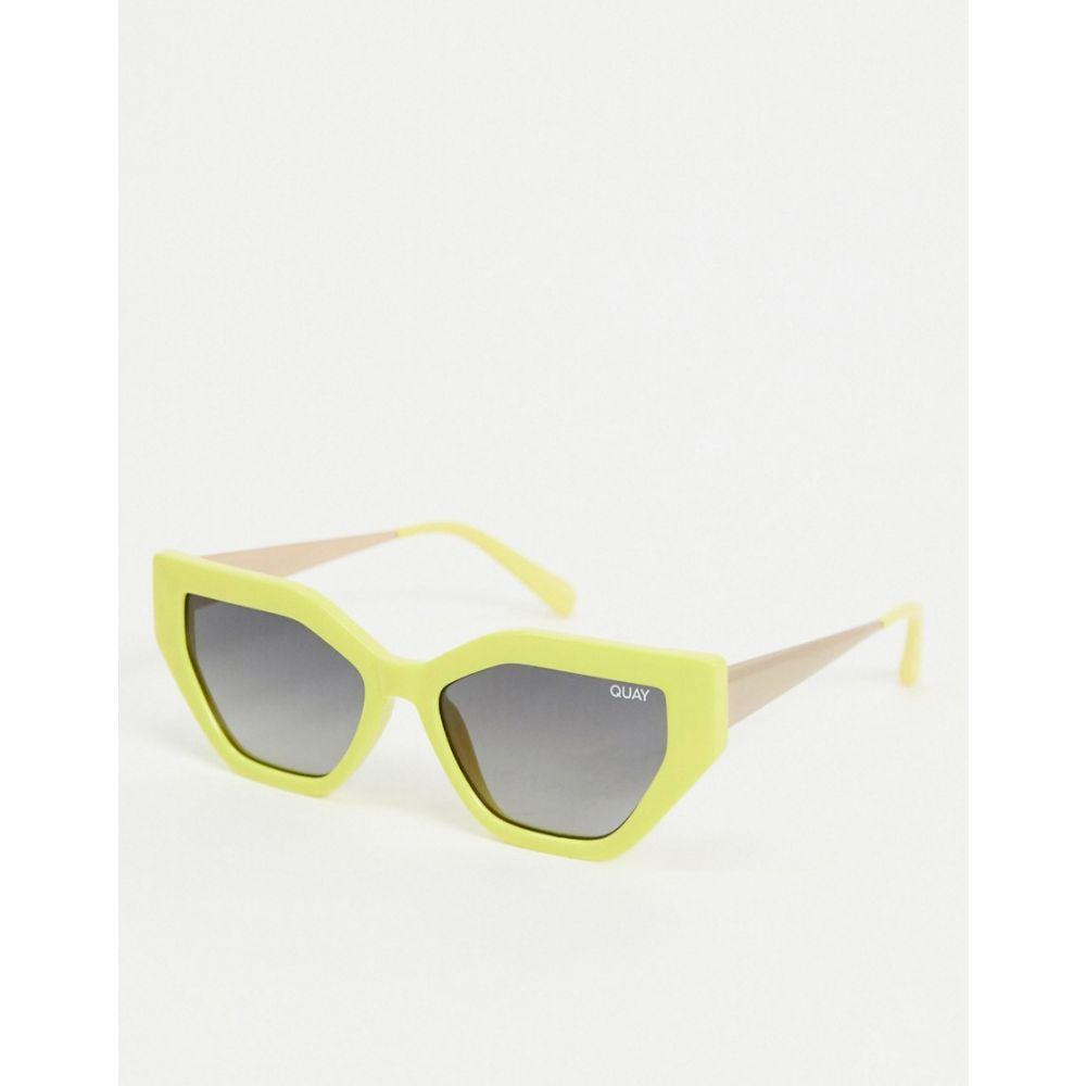 キー オーストラリア Quay Australia レディース メガネ・サングラス 【Vinyl slim cat eye sunglasses in yellow】Yellow