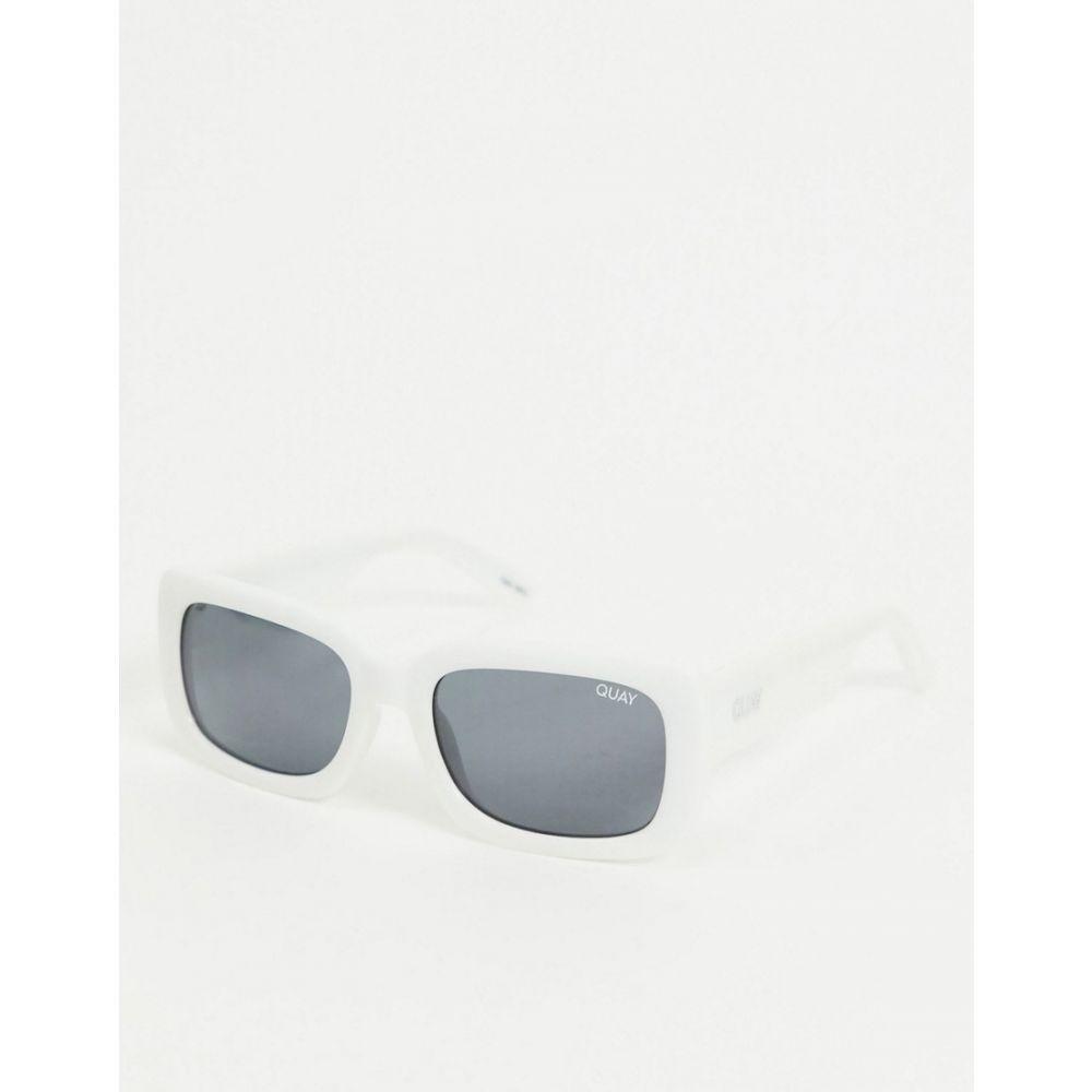 キー オーストラリア Quay Australia レディース メガネ・サングラス スクエアフレーム【Yada Yada retro square sunglasses in white】White