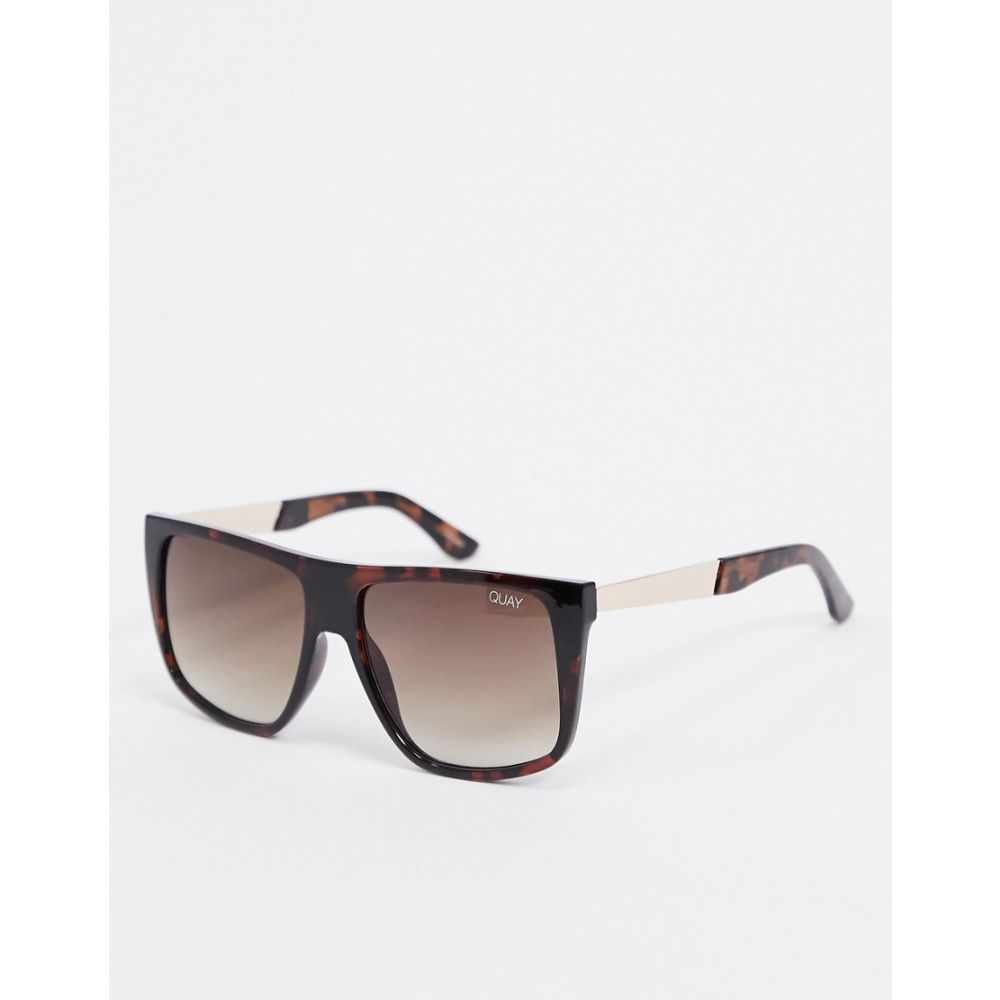 キー オーストラリア Quay Australia レディース メガネ・サングラス 【Icognito oversized flat brow sunglasses in brown tort】Tort brown fade