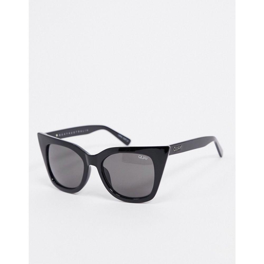 キー オーストラリア Quay Australia レディース メガネ・サングラス 【Harper cat eye sunglasses in black】Shiny black smoke