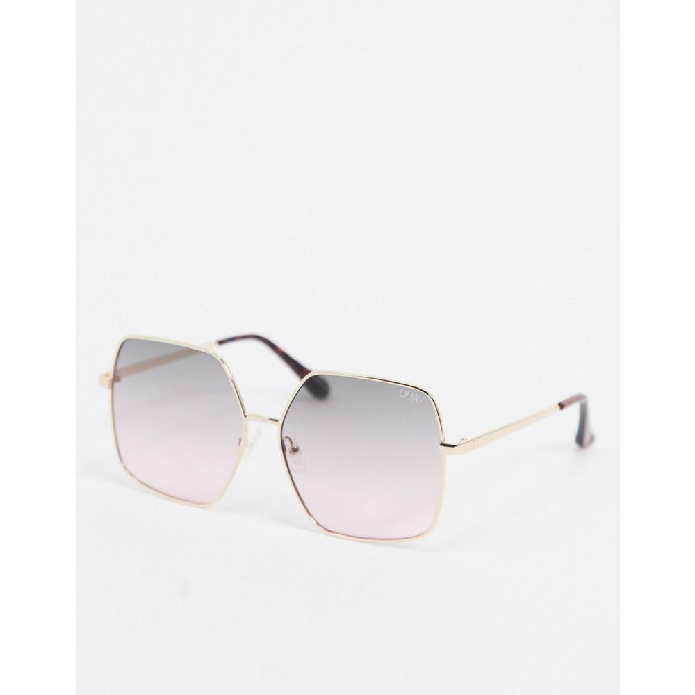 キー オーストラリア Quay Australia レディース メガネ・サングラス 【Backstage oversized sunglasses in gold with blue lens】Gold green to pink