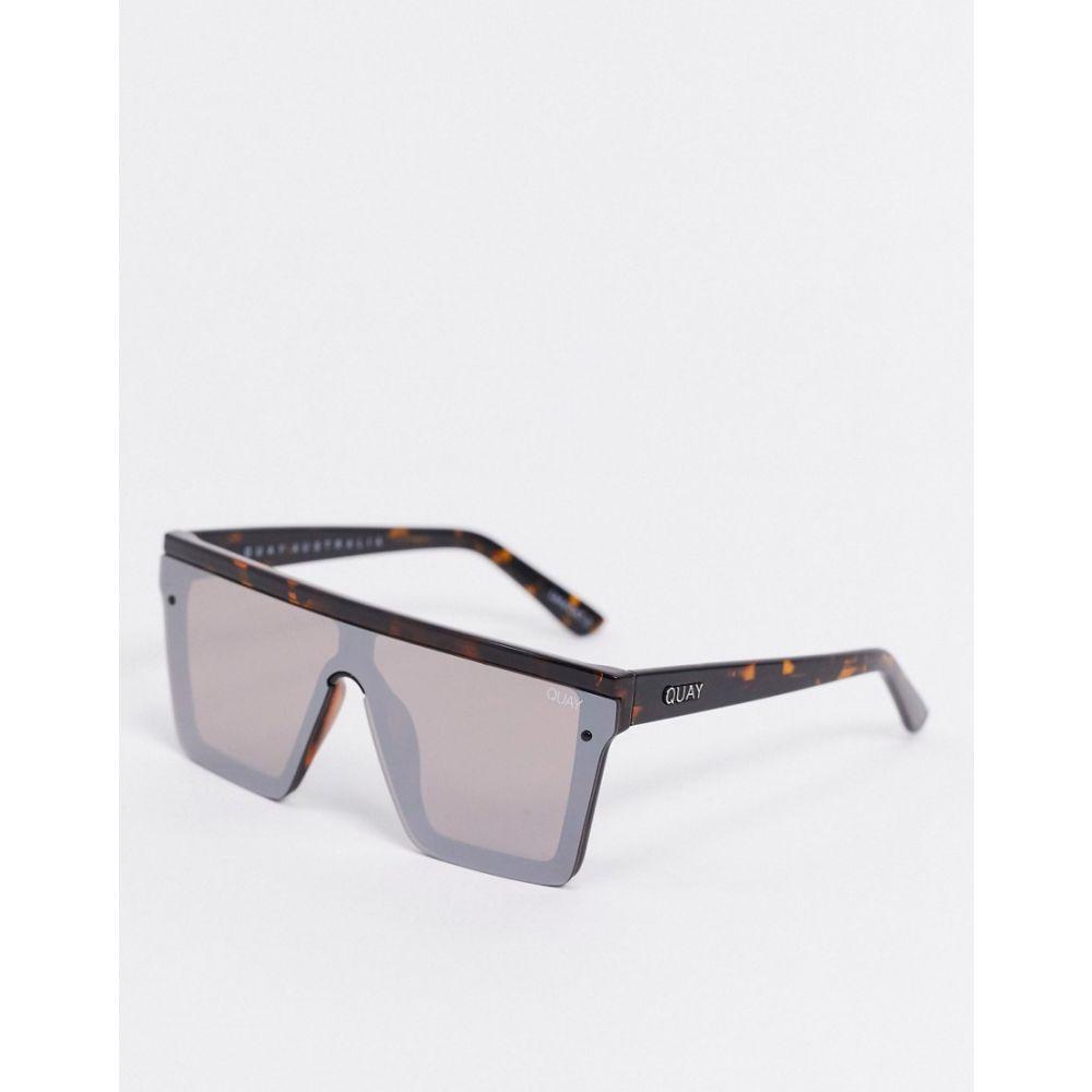 キー オーストラリア Quay Australia レディース メガネ・サングラス 【Hindsight visor sunglasses in brown tort with mirrored lens】Tort brown flash