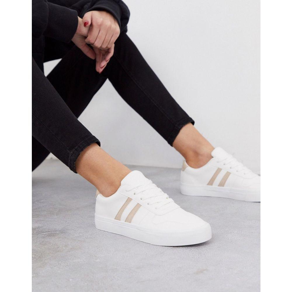 ロンドン シューズ・靴【lace スニーカー レースアップ レディース London Rebel up レーベル trainers】White/beige