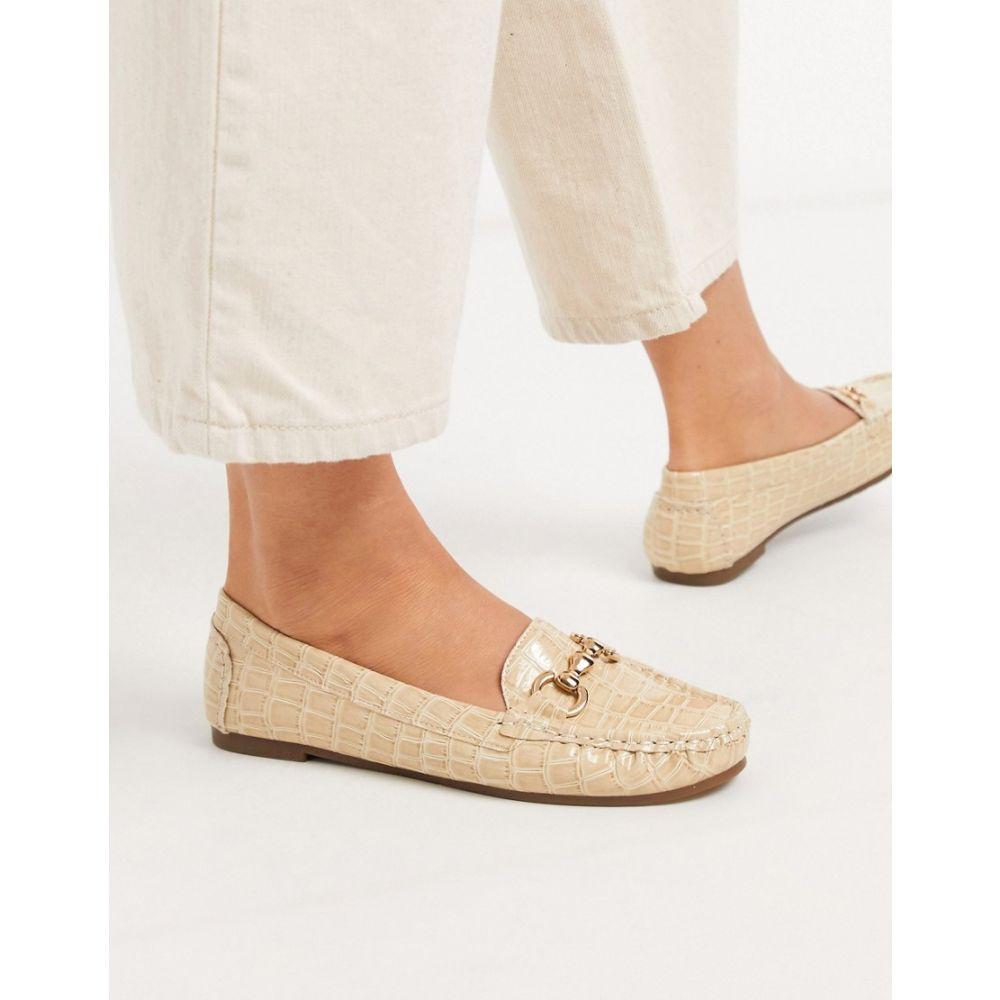 トリュフコレクション Truffle Collection レディース ローファー・オックスフォード シューズ・靴【metal trim loafer in beige croc】Beige croc pu