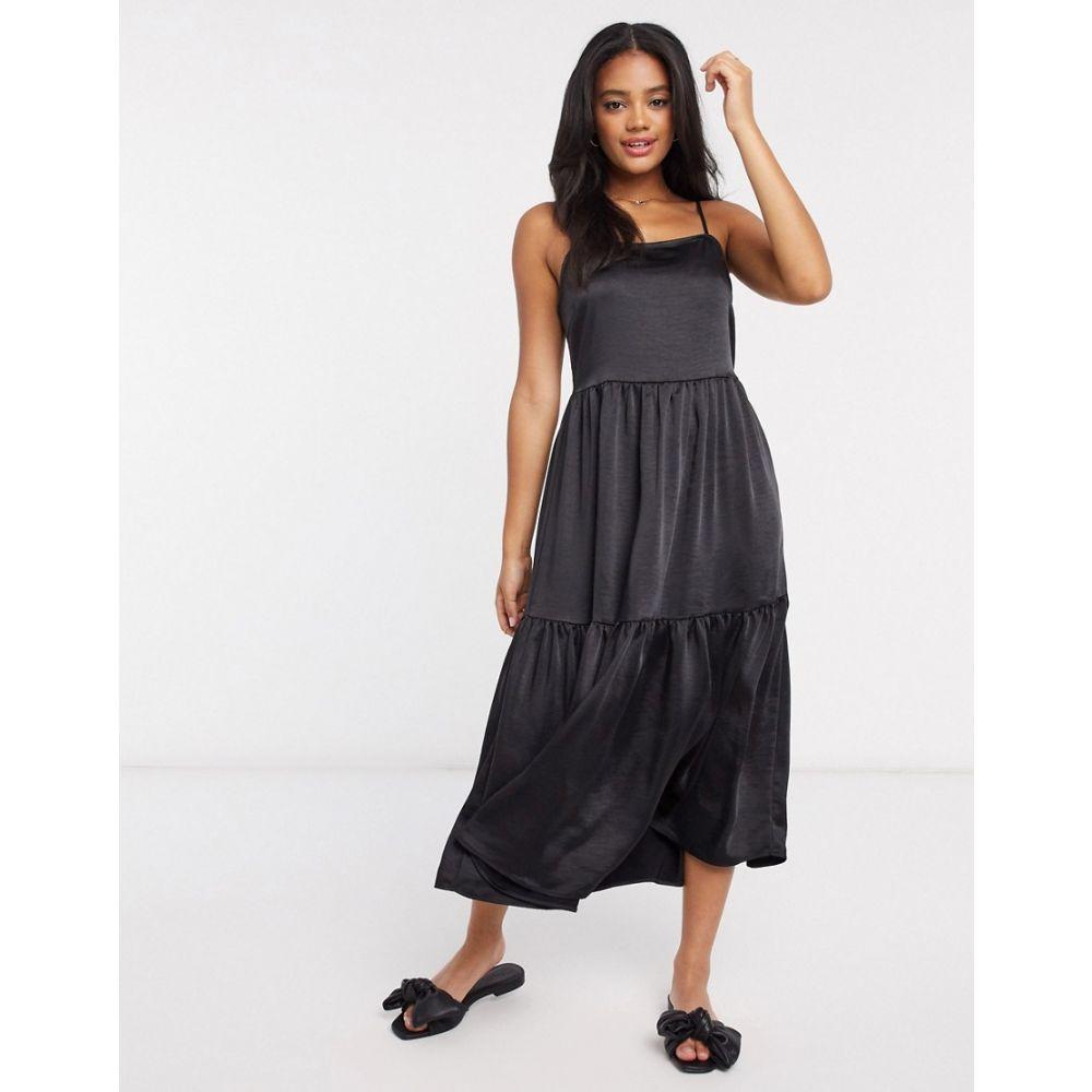 ヴィラ Vila レディース ワンピース キャミワンピ ワンピース・ドレス【satin midi dress with cami straps in black】Black