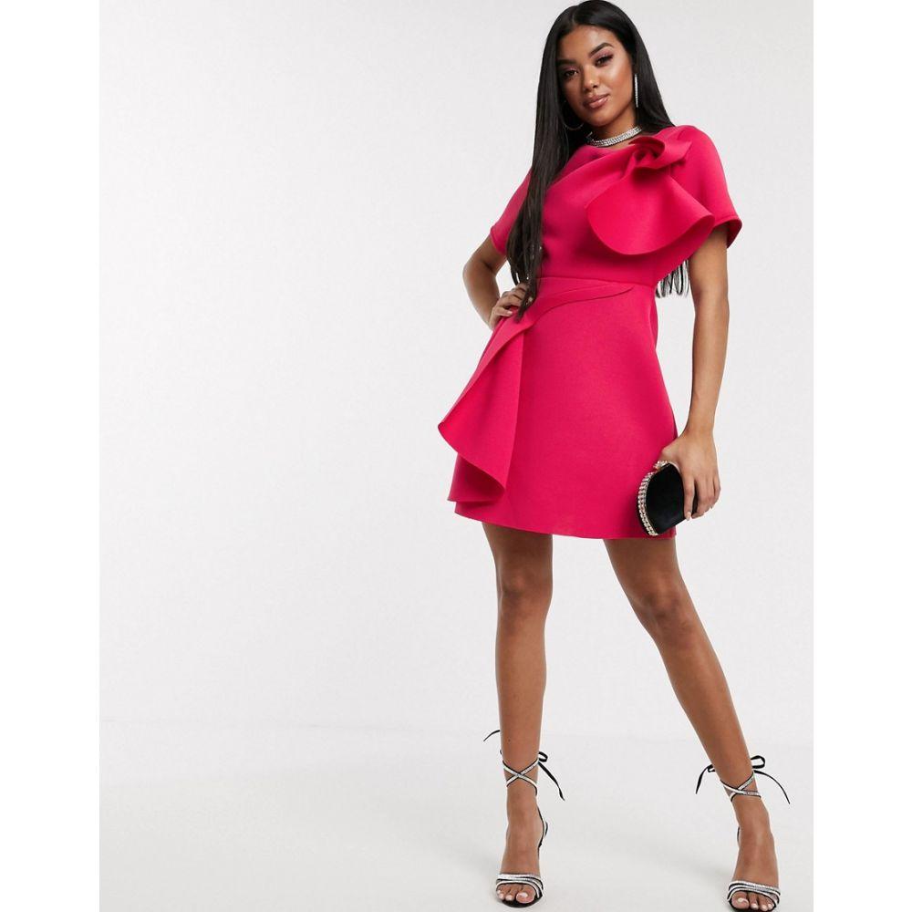 エイソス ASOS DESIGN レディース ワンピース スケータードレス ミニ丈 ワンピース・ドレス【t-shirt tuck detail mini skater dress in hot pink】Hot pink