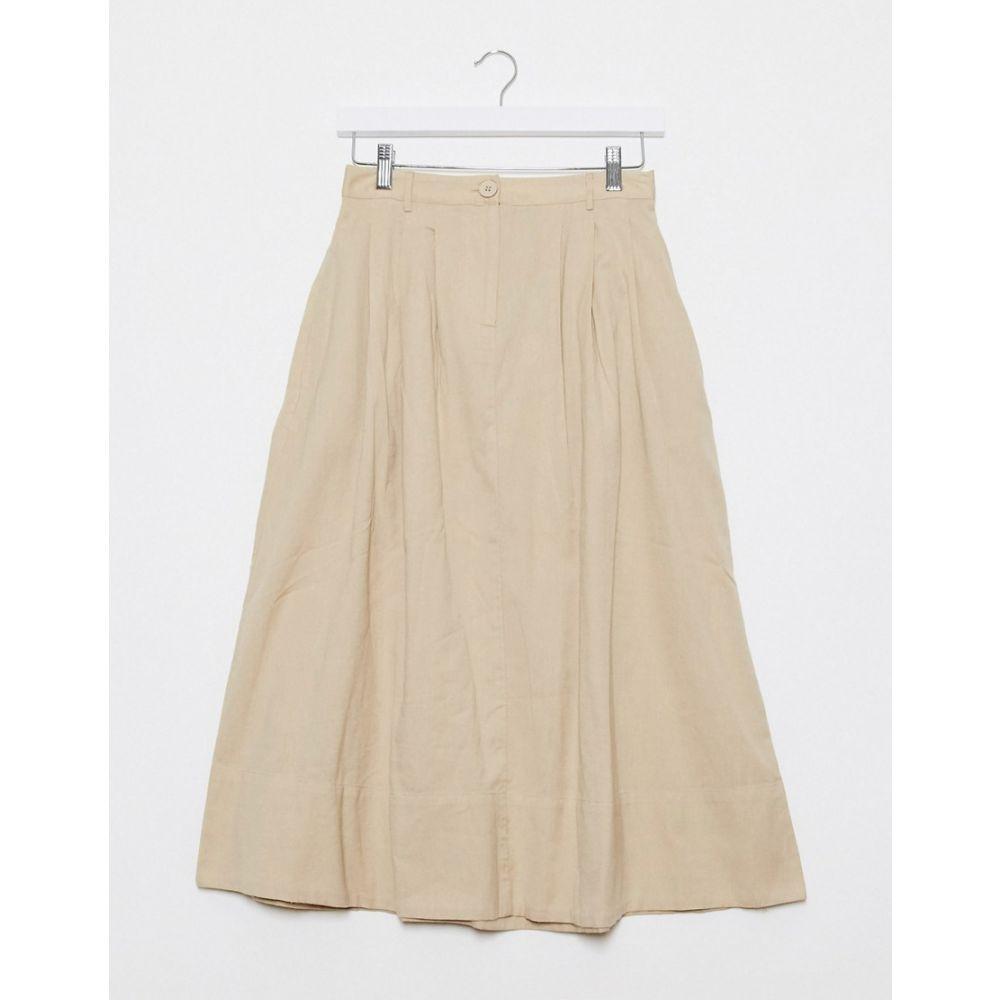 ピーシーズ Pieces レディース ひざ丈スカート スカート【poplin midi skirt in beige】Beige
