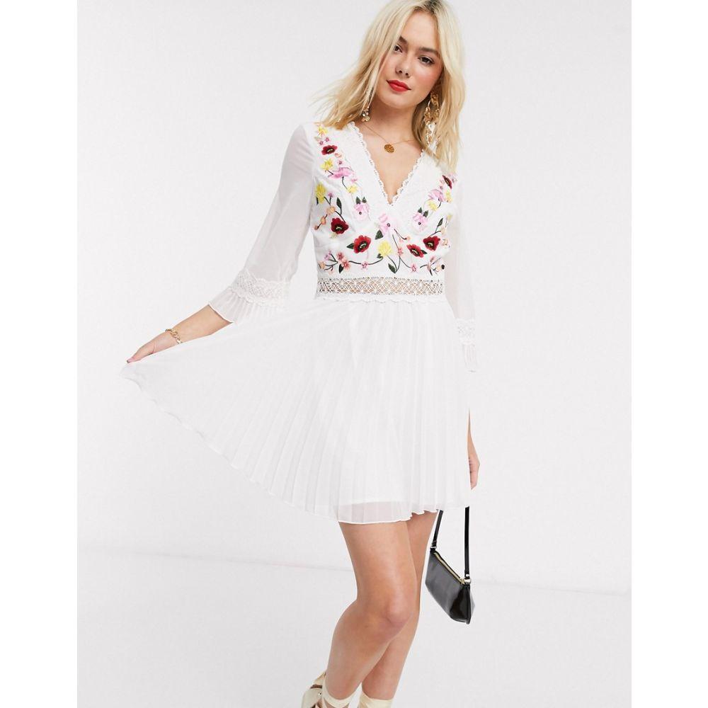 エイソス ASOS DESIGN レディース ワンピース ミニ丈 ワンピース・ドレス【lace insert pleated mini dress with embroidery in white】White