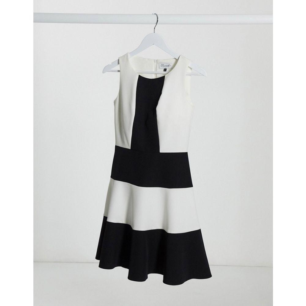 クローゼットロンドン Closet London レディース ワンピース スケータードレス ワンピース・ドレス【Closet panelled skater dress in colourblock】Black/ivory