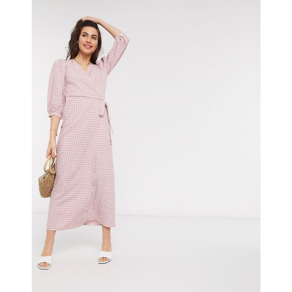 ヴィラ Vila レディース ワンピース ラップドレス マキシ丈 ワンピース・ドレス【maxi wrap dress in pink check】Pink check
