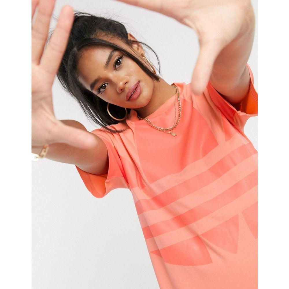 アディダス adidas Originals レディース ワンピース Tシャツワンピース ワンピース・ドレス【large logo t-shirt dress in coral】Coral